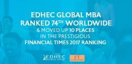 EDHEC Global MBA gains 10 places in the prestigious Financial Times 2017 rankings