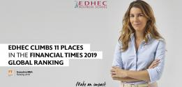 The EDHEC Executive MBA climbs 11 places in the Financial Times 2019 global ranking
